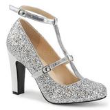 Sølv Glimmer 10 cm QUEEN-01 store størrelser pumps sko