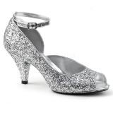 Sølv Glimmer 7,5 cm BELLE-381G dame pumps sko med åben tå