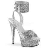 Sølv Glimter 15 cm DELIGHT-691LG pleaser høje hæle med ankelremme