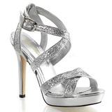 Sølv Glitter 12 cm LUMINA-21 Høje Fest Sandaler med Hæl