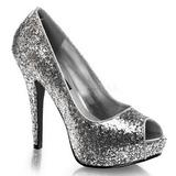 Sølv Glitter 13,5 cm TWINKLE-18G Peep Toe Pumps Plateau