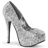 Sølv Glitter 14,5 cm Burlesque BORDELLO TEEZE-06G Høje Hæle Pumps Plateau