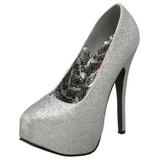 Sølv Glitter 14,5 cm Burlesque TEEZE-31G Platform Pumps Sko
