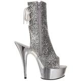 Sølv Glitter 15 cm Pleaser DELIGHT-1018G Plateau Ankelstøvler