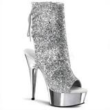 Sølv Glitter 16 cm Pleaser DELIGHT-1018G Plateau Ankelstøvler