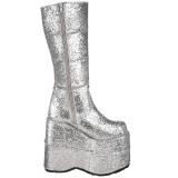 Sølv Glitter 18 cm STACK-301G demonia støvler - unisex cyberpunk støvler