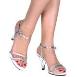 Sølv Glitter 8 cm BELLE-316 lave højhælede sko med lav hæl