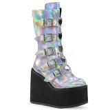 Sølv Hologram 14 cm SWING-230 cyberpunk plateaustøvler