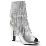Sølv Kunstlæder 10 cm QUEEN-100 store størrelser ankelstøvler dame