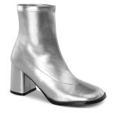 Sølv Kunstlæder 7,5 cm GOGO-150 stretch ankelstøvler med blokhæl til kvinder