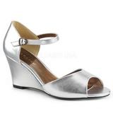 Sølv Kunstlæder 7,5 cm KIMBERLY-05 store størrelser sandaler dame