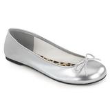 Sølv Kunstlæder ANNA-01 store størrelser ballerina sko