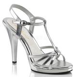 Sølv Lakeret 12 cm FLAIR-420 High Heels Sko til Mænd