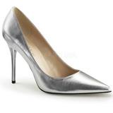 Sølv Mat 10 cm CLASSIQUE-20 spidse pumps med stiletter hæle
