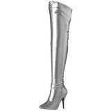 Sølv Mat 13 cm SEDUCE-3000 overknee støvler med hæl