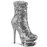 Sølv Pailletter 15,5 cm BLONDIE-R-1009 pleaser ankelstøvler med plateau