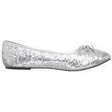 Sølv STAR-16G glitter ballerina sko med flade hæle
