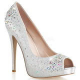 Sølv Satin 13 cm HEIRESS-22R Strass Plateau Pumps Damesko