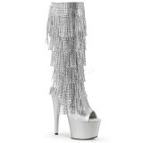 Sølv Strass 18 cm ADORE-2024RSF høje damestøvler med frynser