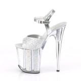 Sølv glimmer 20 cm Pleaser FLAMINGO-810G poledance sko