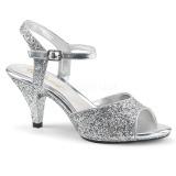 Sølv glimmer 8 cm BELLE-309G højhælede sko til mænd