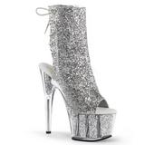 Sølv glitter 18 cm ADORE-1018G ankelstøvler damer med plateausål