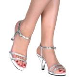 Sølv strass sten 8 cm BELLE-316 højhælede sko til mænd
