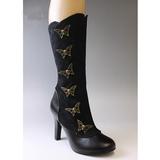 Sort 10,5 cm TESLA-107 steampunk støvler til damer med høj hæl