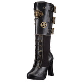 Sort 10 cm CRYPTO-302 steampunk støvler dame