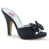 Sort 10 cm SIREN-03 Pinup mules sko med sløjfe