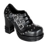 Sort 10 cm VAMPIRE-08 lolita sko gothic dame plateausko med tykke såler