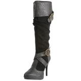Sort 11,5 cm CARRIBEAN-216 plateau damestøvler med spænder