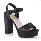 Sort 11,5 cm CELESTE-09 glitter højhælede sandaler med blokhæl
