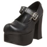 Sort 11,5 cm CHARADE-05 lolita sko gothic dame plateausko med tykke såler