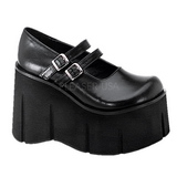 Sort 11,5 cm KERA-08 lolita sko gothic wedge plateausko med kilehæle