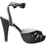 Sort 11,5 cm Pinup retro vintage BETTIE-01 højhælede sandaler til kvinder