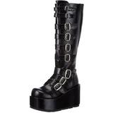 Sort 11 cm CONCORD-108 lolita støvler gothic plateau tykke såler