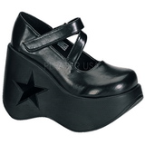 Sort 13,5 cm DYNAMITE-03 lolita sko gothic wedge plateausko med kilehæle