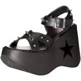 Sort 13 cm Demonia DYNAMITE-02 lolita sandaler med kilehæle