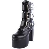 Sort 14 cm TORMENT-703 lolita ankelstøvler gothic plateau tykke såler