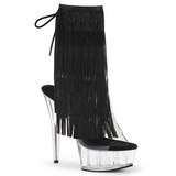 Sort 15 cm DELIGHT-1017TF ankelstøvler til damer med frynser