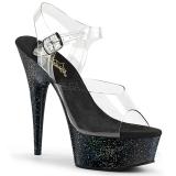 Sort 15 cm Pleaser DELIGHT-608MG glitter plateau high heels sko