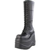 Sort 15 cm WAVE-302 lolita støvler gothic plateau tykke såler