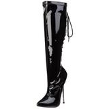 Sort 16 cm DAGGER-2064 fetish støvler til damer med høj hæl