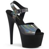Sort 18 cm ADORE-708N-DT Hologram plateau high heels sko
