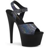 Sort 18 cm ADORE-708N-MG Hologram plateau high heels sko