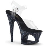 Sort 18 cm MOON-708LG glitter plateau high heels sko
