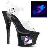 Sort 18 cm MOON-708MER Neon plateau high heels sko