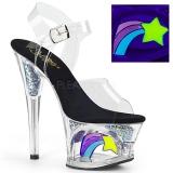 Sort 18 cm MOON-708RSS Neon plateau high heels sko