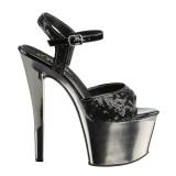 Sort 18 cm Pleaser SKY-310SQ Pailletter plateau high heels sko